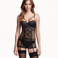 H&M Lace and Mesh Garter Slip $34.99