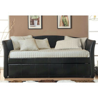 Twin Size Dark Brown Faux Leather Daybed with Trundle Bed