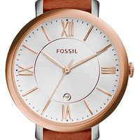Women's Fossil 'Jacqueline' Round Leather Strap Watch, 36mm - Brown/ Rose Gold