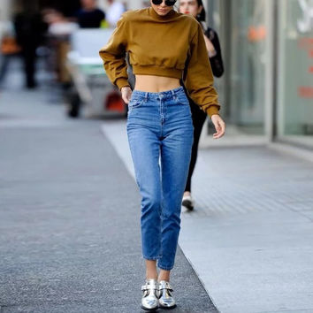 Women Casual Jeans High Waist Ankle Length Jeans Vintage Blue Mom Jeans