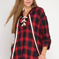 Red Plaid Hooded Tunic