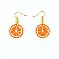 Gourmand CD recycled Earrings : Orange slices - by Savousepate