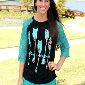 Wild and Free burnout with lace sleeves by KrystylsTrendyFinds