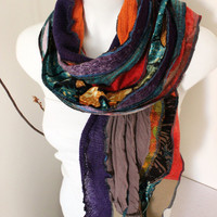 Handmade scarf, Patchwork scarf, Multi-colored scarf, Unisex Unique scarf, Men christmas gift, Moher men scarves, Rainbow scarf