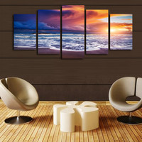 5 Pcs(No Frame) Blue Clouds Sunset Seascape Picture Print Painting On Canvas Wall Art Home Decor Living Room Canvas Print