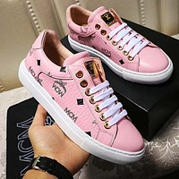 Onewel MCM Sneakers PU Print Contrast Shoes Four-color optional Pink