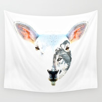 A Wolf In Sheep's Clothing by Sharon Cummings Wall Clock by Sharon Cummings
