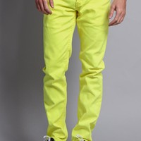 Men's Skinny Fit Colored Jeans (Neon Yellow)