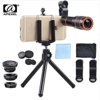 APEXEL 12X Zoom Telescope telephoto camera Lens kit for iPhone 8 7 6S plus Samsung S7 S8 galaxy edge android phones with Tripod