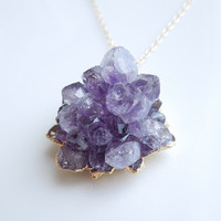 Raw Amethyst Druzy Necklace : Rare Rose Tip Style