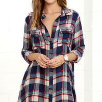 Fireside by Side Navy Blue Plaid Long Sleeve Dress