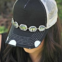 Jeweled Crystal Trucker Hat