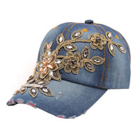 Delicate 2016 New Women Diamond Flower Baseball Cap Summer Style Lady Jeans Hats May22 Hot Selling