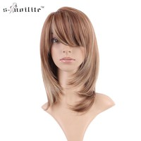 SNOILITE Women Synthetic Full Wigs Streak None Lace Wig Ladies Stylish Cosplay Party Daily Straight Real Natural Dress