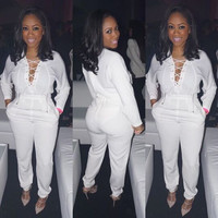 White Lace-Up Long Sleeve Jumpsuit