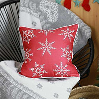 "18""x18"" Red Snowflakes Christmas Decorative Throw Pillow Cover"