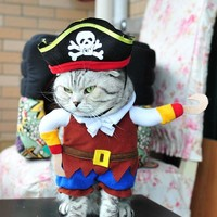 Funny Cute Cartoon Pet Cat Pirate Costume Suit Halloween Cat Dog  Dressing Up Puppy Clothing Hat Role Play
