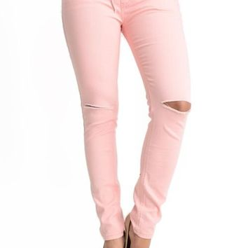 Women's Solid Ripped Skinny Jogger Pants