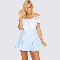 Light Blue Spaghetti Strap Pleated Dress with Lace