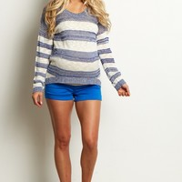 Blue-Basic-Maternity-Shorts