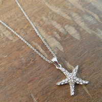 Silver Rhinestone Starfish Necklace   Candy's Cottage