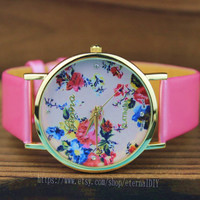 Pink leather watch QiSeHua watch ladies watch, for couples, bride, bridesmaid, each lady