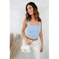 Turn Up The Heat Crop Top - Baby Blue