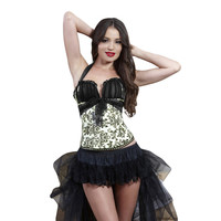 Waist Corset Halter Neckline Print Ruffle Mesh Cups Lace-up Fastening Sexy Corsets And Bustiers Yellow