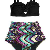 Black Top and Geometric Ruched High Waisted Waist High-waist High-waisted Bathing suit suits Swimsuit Swimwear Bikini Two piece 2PC S M L