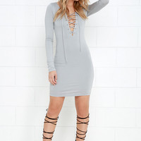 Focus on Me Grey Long Sleeve Lace-Up Dress