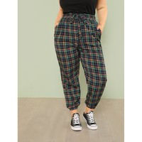 Plaid Print Tapered Pants