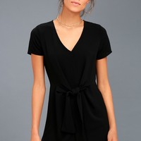 Belong to the City Black Knotted Shift Dress