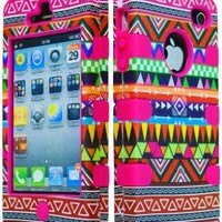 Bastex Hybrid Case for Apple Iphone 4, 4s, 4g - Hot Pink Silicone / Aztec Tribal Hard