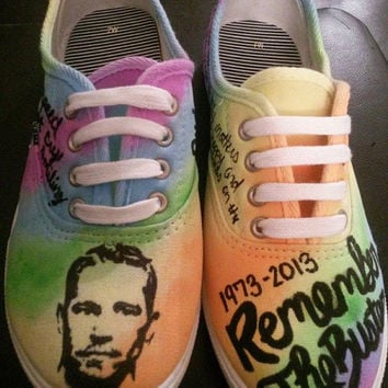 Paul Walker Tribute Hand Painted Custom Made Shoes Fast and Furious RIP Converse Vans Toms
