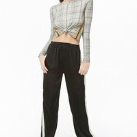 Glen Plaid Tie-front Top