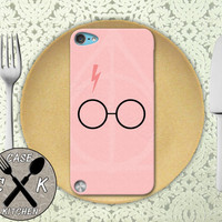Harry Potter Glasses And Deathly Hallows Symbol Pink Custom Rubber Case iPod 5th Generation and Plastic Case For The iPod 4th Generation