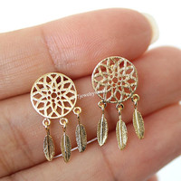 dream catcher earrings, dream catcher studs, dream catcher, unique earrings,  boho earrings, drop earrings, woman earrings, wish, luck