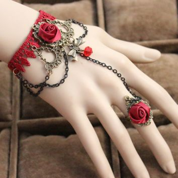 Handmade Vintage Court Rose Lace Bracelet & Ring