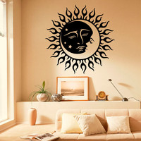 Wall Decals Vinyl Stickers Sun Moon Crescent Dual Ethnic Symbol Night Stars Decal Wall Art Home Interior Decor Bedroom Dorm Living Room C053