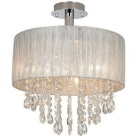 "Jolie Silver and Crystal 15""W Ceiling Light by Possini Euro"