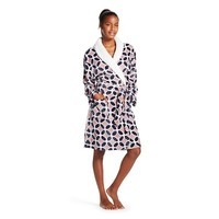 Women's Plush Faux Sherpa Trim Robe - Hotel Spa - Geo Print