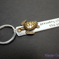 Dreaming of the Sea, Handmade Aluminum Keychain with Gold Tone Turtle Charm