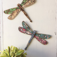 Set of 2 Wooden Dragonfly Wall Art - One Each