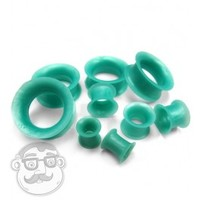 Bright Teal Green Silicone Ear Skins Tunnels (4G - 1 Inch) | Sold in Pairs