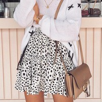 Casual Lace Up Women Sweater and Skirts Suits Feminino Knitted Ruffles Sweet Dress