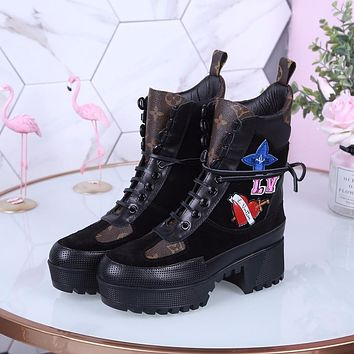 lv louis vuitton trending womens black leather side zip lace up ankle boots shoes high boots 329