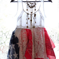 Memorial Day SALE Summer Lace tunic, Americana top, Shabby cottage chic, American country cowgirl, Romantic lagenlook, True rebel clothing