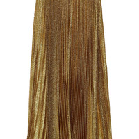 Alice + Olivia - Katz pleated metallic silk-blend maxi skirt