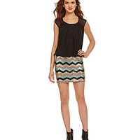 As U Wish Blouson Top Sequin Chevron Skirt Dress - Mint/Gold