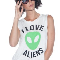 I Love Aliens Cropped Muscle Tank - White